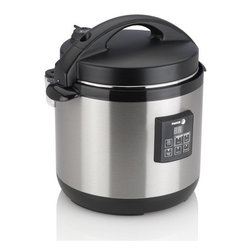 Fagor - Electric Pressure Cooker Plus - Preparing healthy and flavorful meals could not be made easier with this Electric Pressure Cooker. All you have to do is load the cooker with all of your ingredients, lock the lid in place and begin cooking. Features: -Programmable delay-timer for up to 6 hours.-Self-locking lid and automatic pressure release setting for your convenience.-Lid is locked into place and cannot open while there is pressure inside the cooker for safety.-Two independent pressure control valves and anti-overheating protection for added security.-LED screen with soft-touch control buttons.-Brushed stainless steel exterior.-Features PFOA free non stick coated removable cooking pot.-3 preset cooking functions for Meat, rice and vegetables.-Pressure cooking time programmable up to 99 minutes.-Dishwasher safe.-Manual includes recipes for pressure cooking.-Constructed of stainless steel.-Distressed: No.Specifications: -Requires regular 110V household power, and is ETL approved.Dimensions: -13.25'' H x 12.5'' W x 16.5'' D, 15.7 lbs.-Overall Product Weight: 15.7 lbs.