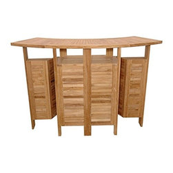 Master Garden Products - Teak Foldable Bar Table - This is a compact foldable bar counter, handcrafted with solid Indonesian plantation teak wood from sustainable plantation sources. It can seat up to 6 people. To use this bar counter, just expand the table top by unfolding the top.