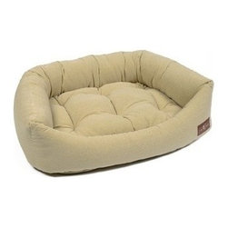 Jax & Bones - Jax & Bones Printed Microvelvet Napper Bed Tweed Creme X-Large - An original design by Jax and Bones! An oval bolster bed that is perfect for dogs that like to lean, curl, or cuddle. Fabric is made from a high performance micro-denier plush velvet with 2 removable inserts for easy care. Offered in 4 sizes and inevitably the softest and favorite dog bed your pet will ever have!