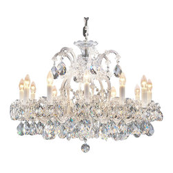 "Inviting Home - Maria Theresa Crystal Chandeliers (Premium Crystal), Traditional Crystal - clear and silver Maria Theresa crystal chandelier; 32"" x 25""H (13 lights); assembly required; 13 light traditional clear crystal chandelier with hand-molded arms frosted crystal components and cut crystal trimmings; all metal parts have gold finish; genuine Czech crystal; * ready to ship in 2 to 3 weeks; * assembly required; This chandelier is a part of Maria Theresa Collection. At their start the chandeliers bearing the name of Maria Theresa were made on the occasion of the Empress's coronation as queen of Bohemia in 1743. This fact is hidden in the shape of these lighting fixtures reminiscent of the royal crown. Their characteristic feature is the arms' typical flat surface clad with glass bars. The bars are fixed to the arms by glass rosettes and beads with dangling cut crystal chandelier trimmings. These ravishing fixtures were inspired by a chandelier made for Maria Theresa in Bohemia in the mid 18th century. However not only the empress became fond of it; so did many others who fancied the style and the majestic manners after her. Typical elements are metal arms overlaid with glass bars and decorated with crystal rosettes. Originally the trimming was made of typical flat drops called ""pendles"". Today trimmings of various shapes are used. Traditional crystal. Chandelier trimmings cut from lead-free glass are typical of the traditional production in Bohemia stretching back to the former half of the 18th century. Thanks to their look based on tradition and history they satisfy even the most discriminating customers. Lighting fixtures dressed with these trimmings are suitable especially for period interiors. On the other hand they create an exciting counterpoint to austere modern interiors. These trimmings are often used in the production of replicas of historical lighting fixtures. The tradition of production luxurious appearance and classical morphology are the common denominator of all these chandeliers. To manufacture these almost 90 percent is hand-completed: mouth-blowing cutting and other techniques applied when working glass and metals. Machine-cut crystal chandelier trimmings and artistically chased metal parts provide a stamp of luxury. Devotees of these lighting fixtures come mostly from the circles of the lovers of magnificent designs created in the style of the timeless classic. Every component passes thorough strict internal Quality Control processes. Highest quality European production with certified standards. UL approved - dry location; hardwire; 13x E12/14 - 40W bulbs; bulbs not included. 3 to 4 feet chain drop provided. Hand crafted in Czech Republic."