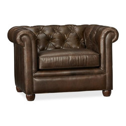 Chesterfield Leather Upholstered Armchair, Leather Coco - I might have a slight obsession with all things tufted. This leather armchair is no exception. It has a deep seat so that you can sink in and just stay there all evening. And I'm very capable of doing exactly that.