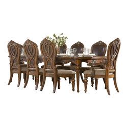 Homelegance - Homelegance Golden Eagle Rectangular Dining Table in Caramel - Enrich your surroundings with the grand elegance of Golden Eagle collection. If you appreciate Traditional forms, exquisite shapes, graceful curves and artistic hand work, the Golden Eagle collection will lift your spirits each time you dine. The collection is dramatic and graciously scaled with pecan veneers accented by distinctive ash burl veneers. Cameo marble inserts punctuate the crest of the china and bonded-leather chair backs, as they are supported by bold relief scrollwork. Caramel finish with subtle gold tipping to accent the carving further enhances the grand elegance of Golden Eagle collection.