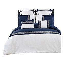 Bed Linens - Astrid Embroidered 7 Piece Duvet Cover Set, Full/Queen, Navy/White - The duvet cover set is completed with coordinated Two Pillow shams, Two European shams & Two Decorative cushions. The over all look is one of the simplicity and elegance that will be enjoyed for years to come.