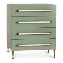Hazel Chest - With a vintage appeal that resembles an art deco feel, the Hazel Chest stuns in a soothing celadon lacquer finish that is ideal for a master bedroom. Use these beautiful four drawer chests as nightstands which will provide you ample storage space for all of your treasured possessions. Exquisite linen wrapped handles are one of the finer details of this piece along with its lovely slender brass legs.