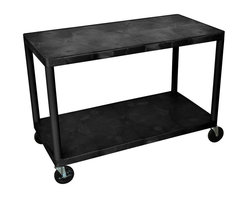 Luxor Furniture - Utility Cart - Generous work surface with plenty of storage / work space that suits a variety of needs. Molded plastic shelves and legs won't stain, scratch, dent or rust. 400 lb. weight capacity (evenly distributed). 48 in.W x 24 in.D x 36 in.H. 5 in. Ball-bearing casters, two with locking brake.. Lifetime Warranty. Made in USA.