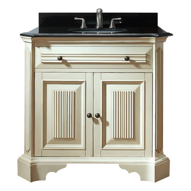 Avanity - Kingswood 36 in. Vanity Combo - Old world, meet new world. This vanity has a distressed finish and fluted details to give it an antiqued look, but it's sleek, black granite top makes it modern. It's a great transitional piece for your guest bath or you can place two side by side in the master.