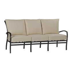 "Frontgate - Aire Outdoor Sofa with Cushions, Patio Furniture - Lightweight and durable pieces are crafted from hand-welded aluminum. Finished in Black Walnut and Ancient Earth combination. Cushions are covered in exclusive Sunbrella&reg fabrics, the finest solution-dyed, all-weather material available. Sofa, Swivel Glider, Lounge, and Ottoman are outfitted with thick all-weather cushions. Swivel Glider is specially crafted for smooth motion and comfort. The Aire Collection by Summer Classics&reg offers lightweight elegance with a classic and casual style made for your outdoor setting. Fluid curves define each piece, from the frame of each seat back down each strong and slender leg. Seating pieces are furnished with contoured seats and backs hand woven with high quality resin wicker.Part of the Aire Collection by Summer Classics&reg . . . . . Chaise adjusts to five positions. High-quality resin wicker dining seats are comfortable with or without cushions. Dining chairs are lightweight, comfortable, and stackable. Dining chair seats and backs are crafted with UV-resistant high-quality resin wicker for a comfortable woven look and feel. Dining Tables are equipped with 2"" umbrella holes. Some assembly on dining tables. Note: Due to the custom-made nature of the cushions, any fabric changes or cancellations made to the Aire Collection must be made within 24 hours of ordering."