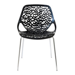 "Eurostyle - Lovie Side Chair (Set Of 2)-Black - There will be a buzz swirling in your space about the exciting swirl design featured in this visually arresting chair. You'll hear the ""ooh's and wow's,"" then witness the admiration bestowed by mesmerized guests."