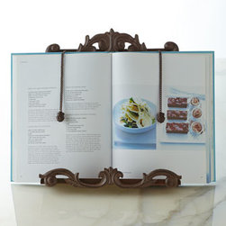 GG Collection - GG Collection Cookbook Holder - Resembling an elegant picture frame, this impressive cookbook holder features a scrolled bottom edge to keep the cookbook standing upright and weighted drop chains to prevent pages from turning on their own. Handcrafted of iron and cast aluminum. Hand...