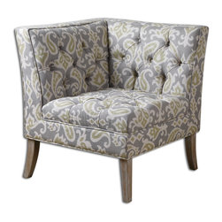 Uttermost - Meliso Tufted Corner Chair - Hardwood construction and double-welted, button-tufted tailoring in a cheery kit linen in gray, parchment, and chartreuse with whitewashed oak legs. Light assembly.