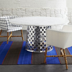 """Como 60"""" Round Marble Top Dining Table -"""