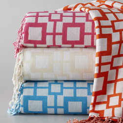"""Pine Cone Hill - Pine Cone Hill """"Sugari Check"""" Throw - Raise the temperature with a geometric-patterned throw in tropical shades. Available in Tangerine, Fuchsia, Ivory, or Turquoise. Made of yarn-dyed woven viscose. Approximately 50"""" x 70"""". Select color when ordering. By Pine Cone Hill®. Dry clean. Imported."""