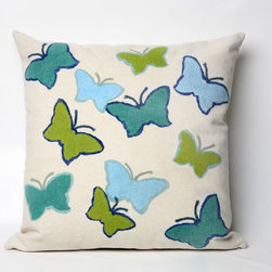 Butterfly Collage Aqua Outdoor Pillow - Butterfly Collage Aqua outdoor pillow design.