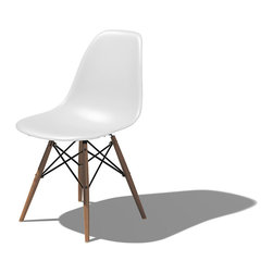 "Herman Miller - Eames Dowel Leg Side Chair, Studio White with Walnut Legs - The Eames Dowel Leg Side Chair brings a softer and warmer feel to the geometric base of the molded plastic side chair. With its clean and simple forms the Eames chair shapes to cradle the body using molding techniques designed during World War Two. Today's chairs are made of eco-friendly materials but still provide the same comfort and durability that an Eames chair has provided for generations. Standing 31.75"" tall and 18.5"" wide the chair is a staple of the Eames collection."