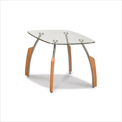 Global Furniture USA - Global Furniture USA Francis Glass Top End Table in Natural Light Cherry - Global Furniture USA - End Tables - T138E - Sleek and sassy the Global Furniture USA Francis end table features a clear tempered glass top supported by striking wide-spread chrome legs. For a touch of the traditional each leg is accented with light natural cherry wood.