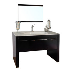 Bellaterra Home - 55.3 Inch Single Sink Vanity-Dark Walnut-White Marble - The unique styling gives this modern vanity a beautiful appearance, very dramatic, allowing the overall design and beauty to make an incredible statement in your bathroom. This vanity set is truly an awesome piece completely original and completely unique - it's definitely cutting edge contemporary bathroom design. The vanity is made with all wood, finished in dark walnut finish, properly sealed to stand against bathroom humidity. The unique leaf shape sink is hard to find in the market. The cabinet is completely assembled, and installed with genuine Blum soft closing drawer glides. Genuine polished white marble top and high quality leaf shape white vitreous china sinks.