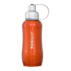 Thinksport Stainless Steel Sports Bottle - Orange - 25 Oz - Built to fit your active lifestyle, thinksport Stainless Steel Insulated Sports Bottles provide an alternative to bottles containing Bisphenol-A (BPA). thinksport Stainless Steel Insulated Sports Bottles are built tough and super insulated to keep the contents cold or hot for hours. This insulated bottle is double-walled and vacuum-sealed stainless steel construction. When you fill your insulated bottle you won't feel the temperature of the contents; now you won't ever have to grab a blazing hot bottle or a freezing cold one either. You can fill our bottle with ice, your favorite drink and enjoy a cold drink without the bottle sweating all over your gym bag, backpack, or desk. thinksport bottles elegant design features a wide mouth opening (for ease of filling and cleaning) and a smaller polypropylene spout (for convenient drinking). thinksport bottles also feature a removable interior mesh filter that keeps ice from blocking the drinking spout and allows users to conveniently brew loose leaf tea on the go or make campfire coffee. The thinksport insulated bottle is a high-quality insulated sport bottle for about the same price as the other guys  basic single-walled bottles. thinksport bottles are made of 18/8 medical-grade 304 stainless steel and do not have any type of potential harmful liner. thinksport products address the growing concern of toxic chemicals leaching from consumer products. All thinksport products are free of bisphenol-A (BPA), lead, PVC, phthalates, melamine, nitrosamines, and biologically toxic chemicals. How do you care for my thinksport bottle? thinksport recommends hand washing your bottles, however bottles are dishwasher safe, be sure to remove the cap and strap first. thinksport Stainless Steel Insulated Sports Bottles are great for the beach, tailgating, bicycling, camping, gym, and for keeping your drinks hot or cold at the office. Size: 25 oz, Color: Orange