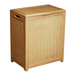 """Oceanstar Design - Rectangular Laundry Wood Hamper with Interior Bag, Natural - Contemporary design for your bed or bath by adding this laundry hamper to your home decor. This laundry hamper is a solid wood construction hamper; it adds durability and elegance to any room and helps to keep your room neat and contemporary. This laundry hamper comes with a canvas bag and double hinges with hardware and other accessories to assemble. There are also rubber bumpers on the lid which help to prevent damage to the hamper. Two hand grips on the side makes it easy for you to carry your clothes to your laundry room or you can also take out the canvas bag to your laundry room. This beautiful hamper is functional while adds class and style to your room. Assembly required. Hamper Size: 24""""H x 13.5""""D x 20""""W. Assemble weight: 13 lbs."""