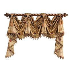 RLF Home - Paradise Garden Victory Swag, Gold, 3 Scoop - The Paradise Garden Victory Swag is embraced by embroidered vines and tufted flowers on faux-silk, and finished with lavish tassel-trim and chair-tie accents as shown. Fashioned with front-tabs and elegantly draped from a decorative pole, this style will enhance any decor. This valance is 100% Polyester, unlined, and available in colors Gold, Green, and Ivory.