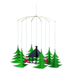 Flensted Mobiles - Pixies in the X-Mas Forest Mobile - Lending a magical touch wherever you hang it, this whimsical mobile is destined to become a holiday favorite in your home each year. Hidden deep within a forest of trees, two pixies peek out from behind the branches that cover their secret workshop.