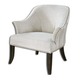 Uttermost - Leisa White Armchair, Uttermost 23114 - Soft linen and cotton slub weave in alabaster white, accented by rows of polished nickel nails and black stained, hardwood legs.