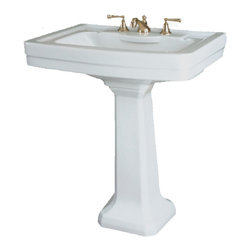 St Thomas Creations - St Thomas Creations 5125.082.01 Richmond Petite 8-Inch Centerset Pedestal Sink i - Petite 8-Inch Centerset Pedestal Sink in White belongs to Richmond  Collection by St Thomas Creations Redesign your private sanctuary with the timeless elegance of the Richmond suite. The enduring beauty of the design is always in style. The rectangular lavatory enhances the square but graceful tapered pedestal. Richmond has a rich and impressive look that's distinctly its own.  Sink (1)