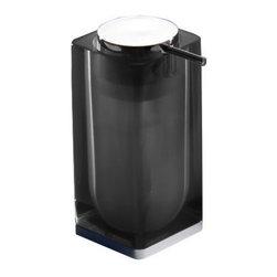 Gedy - Black Square Counter Soap Dispenser - Decorative, modern semi-transparent bathroom soap dispenser.