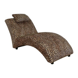 Chelsea Home - Chelsea Home Blaine Chaise Lounge - Leopard - 23250-L - Shop for Chaises from Hayneedle.com! Luxurious lounging is the cat's meow a lounger full of luxe is the CHEL1527 Chelsea Home Blaine Chaise Lounge - Leopard. Its striking leopard skin pattern printed on easy-clean Dacron fabric adds definition and an unexpected conversation starter to your lounge space. There you'll curl up and purr atop the comfy high-density foam cushions outfitted with a sinuous spring system to maintain uniform seating. All this is augmented by a solid frame built of kiln-dried hardwood and engineered wood and reinforced at its stress points. About Chelsea Home FurnitureProviding home elegance in upholstery products such as recliners stationary upholstery leather and accent furniture including chairs chaises and benches is the most important part of Chelsea Home Furniture's operations. Bringing high quality classic and traditional designs that remain fresh for generations to customers' homes is no burden but a love for hospitality and home beauty. The majority of Chelsea Home Furniture's products are made in the USA while all are sought after throughout the industry and will remain a staple in home furnishings.