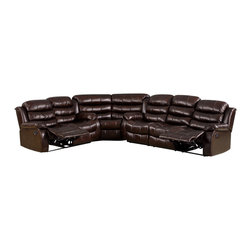 FOA - Kameno Sectional Sofa Set featuring Loveseat with Console - This Transitional Style Recliner Type Sectional is upholstered in Dark Brown Leatherette.