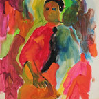 Lost Art Salon - 1950-60s Original Bay Area Figurative Colorful Figure by Alysanne McGaffey - Curate your space with an impressive work of art. This distemper-on-paper piece by noted painter Alysanne McGaffey is indicative of the significant Bay Area Figurative Movement of the late 1950s and early '60s — and your impeccable taste.