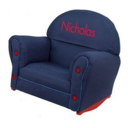 KidKraft Upholstered Denim Rocker with Slip Cover - Personalized - Perfect for story time the KidKraft Upholstered Denim Rocker with Slip Cover provides a cozy comfy spot for your little one to curl up. Supported by a solid hardwood frame this rocking chair is padded with soft cushioning and features a durable slip cover in plush denim velour. Sized with growing toddlers in mind this requires no assembly. Personalize with your childs name up to 12 letters in red-block font print. About KidKraftKidKraft is a leading creator manufacturer and distributor of children's furniture toy gift and room accessory items. KidKraft's headquarters in Dallas Texas serves as the nerve center for the company's design operations and distribution networks. With the company mission emphasizing quality design dependability and competitive pricing KidKraft has consistently experienced double-digit growth. It's a name parents can trust for high-quality safe innovative children's toys and furniture.