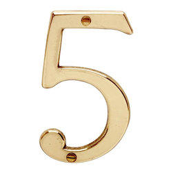 "Renovators Supply - House Numbers Bright Solid Brass #5 3 7/8"" height - House numbers: Crafted of solid brass, these die cast numbers measure 3-7/8 in. high. Our RSF protective finish guarantees these numbers will withstand the elements. A polished brass finish will embellish your home��_�s exterior. Includes 2 screws for mounting."