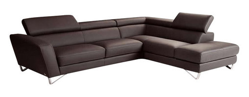 Nicoletti - Nicoletti Brown Italian Leather Sparta Sectional Sofa with Right Facing Chaise - The Nicoletti Sparta Sectional is a truly lovely modern sofa that will compliment any contemporary home. This great new product features top grain genuine Italian leather in Brown, stainless steel legs, adjustable head rest and ratchet mechanism.