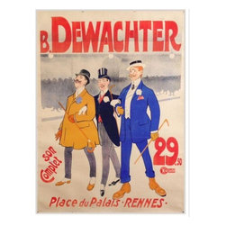 Pre-owned 1931 Original French Art Deco Poster - Dewachters - This poster is for a chain of men's clothing stores called Maison Dewachter. Run and managed by the far-flung Dewachter family, the haberdasher had retail outlets in France and Belgium. Designed by Walther Thor, who also designed posters for everything from bicycle and pneumatic tires to travel destinations. These three dandies clearly know how to dress - note the monocle and spats��_
