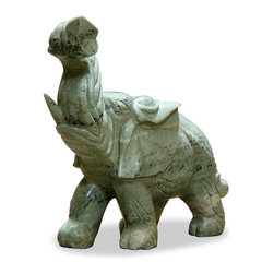 China Furniture and Arts - Hand Carved Jade Elephant - During the times of ancient China, elephants roamed many parts of the countryside, and their figure has been popular for centuries in Chinese households. Perceived as one of the most intelligent animals, the elephant has long been seen to symbolize wisdom and prosperity. Hand carved green jade by artisans from China. Because of their hand made nature, there are no two alike. Please allow us to select for you. (192 lbs.)