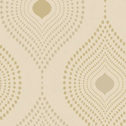 Walls Republic - Tia Geometric Design Wallpaper, Gold, Sample - Tia contains a decorative geometric pattern. Overlaying a charcoal background, pattern is accentuated with metallic embellishments.