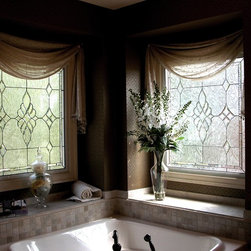 Meadowville Master - Leaded and beveled stained glass privacy windows for master bath