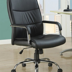 Monarch Specialties - Office Chair in Black - Contemporary style. Rich black faux leather upholstery. Sleek curved padded metal arms. Adjustable height gas lift. Silver tone base with casters. 23 in. W x 30 in. D x 43 in. H (35 lbs.)This gorgeous contemporary office chair will add both style and comfort to your home office or study area. Create a warm and stylish home office or homework area with this casual piece.