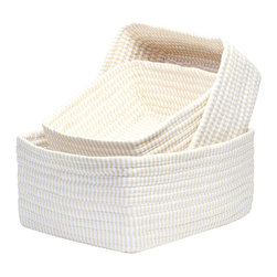 Colonial Mills - Ticking Stripe Basket Set - Canvas, Set of 3 - Not one, but three beautiful storage baskets made of canvas color cotton blend ticking stripe fabrics that gives them an artisan texture. Store lingerie, scarves, shoes or magazines. Made in the USA.