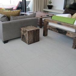 "Redondo Beach Modern SG - CTM Tile, Classic Tile and Mosaic Instock Collection, Modern Limestone Ash Grey Matte Porcelain 24x24, 5/8 x 2"" Glass Bar Blend M13 Clear, Modern Residence www.ctmtile.com Photo Credits: Kurtis Leflinger"