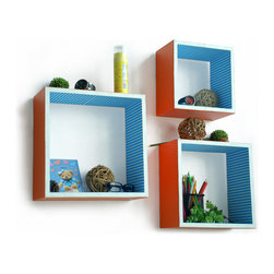 Blancho Bedding - [Lively Beat] Square Leather Wall Shelf / Bookshelf / Floating Shelf (Set of 3) - These square wall cube shelves add a new and refreshing element to your room and can be easily combined with other pieces to create a customized wall space. Coming in various colors and sizes, they spice up your home's decor, add versatility, and create a whole new range of storage spaces. You can hang them on the wall, or have them stand on table or floor, any way you like. Perfect for wall mounting, these modern display floating shelves are sure to delight. Constructed from MDF with a top faux leather wrapping. Fashion forward design has never been so functional. This range of faux leather storage cubes is sure to delight! Easy to mount, easy to love! Attractive shelf boxes give any wall in your home a striking appearance. Arrange in whatever fashion you like - whether it be grouped together or displayed separately. Each box serves as a practical shelf, as well as a great wall decoration.