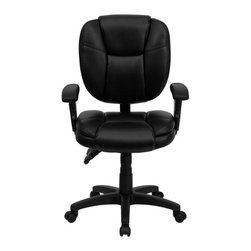 Flash Furniture - Mid-Back Black Leather Multi-Functional Ergonomic Task Chair with Arms - This Office Task Chair has multi-functional controls which makes this chair a pleasure to use. When standard office chairs have your legs, back, and neck aching, this chair is the right choice for you. Featuring an overstuffed seat and back that allow true ergonomics, this chair is sure to be the cure for all your chair-related fatigue.