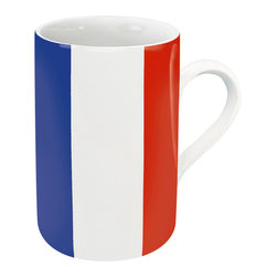 Konitz - Set of 4 Flag Mugs France - Show your national pride with this patriotic mug in a French Flag design. The France Flag Mug is perfect for celebrating holidays or showing love for your country. The bottom of the mug explains the unique symbolism of the tricolor flag: blue and red as the colors of Paris and white as the color of the monarchy.