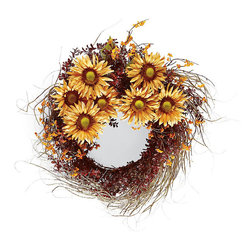 Frontgate - Sunflower Harvest Wreath - Crafted of lifelike materials. Adds instant color to your entry. Will need to be shaped after opening. Hang indoors or in a covered outdoor area. Make a bright and beautiful statement with our golden Sunflower Harvest Wreath. A symbol of happiness and honesty, the vibrant sunflowers greet guests while the bittersweet, burgundy boxwood and willow branches add zest and abundance to this welcoming ring.  . .  . .