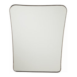 Dalit Mirror by Arteriors - This fun asymmetric mirror has a beautifully thin polished nickel frame and rounded curves.