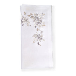 Spectrum Napkin - Soft, shimmering, floral detailing dances playfully upon the Spectrum Napkin in beautiful metallic hues. Ideal for a formal dinner party or a gathering of friends for appetizers and cocktails. Easily adaptable in any entertaining scenario, this set of 4 napkins are both classic and elegant and ready to be included in your party decor. This item is sold as a single unit.