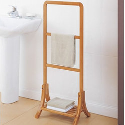 Organize It All - Organize It All 29946W-1 Wooden Towel Rack Brown - 29946W-1 - Shop for Bathroom Etageres Racks and Space Savers from Hayneedle.com! Keep your bathroom towels fresh with the Organize It All 29946W-1 Wooden Towel Rack. Made of natural eco-friendly carbonized bamboo it has three bars to dry damp towels along with a bottom shelf to store fresh towels. Great for maximizing storage in small living spaces.About Organize It All With masterful designs using top-quality materials Organize It All is dedicated to providing convenient and stylish storage solutions for every room in your home believing that a well-organized environment is more enjoyable.
