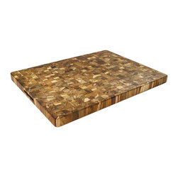 Proteak - Proteak End Grain Rectangle Board With Handle, 24 x 18 x 1.5 - Proteak has a new line of cutting boards for the 2015 season made from 100% sustainable end grain teak and this is the granddaddy of them all!