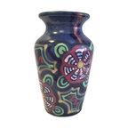 Vintage Midcentury Ceramic Blue Multi color Vase from Germany - Vintage Midcentury Vase Number 615 Germany