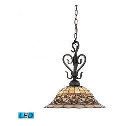 ELK Lighting - One Light Vintage Antique Tiffany Glass Down Pendant - One Light Vintage Antique Tiffany Glass Down Pendant